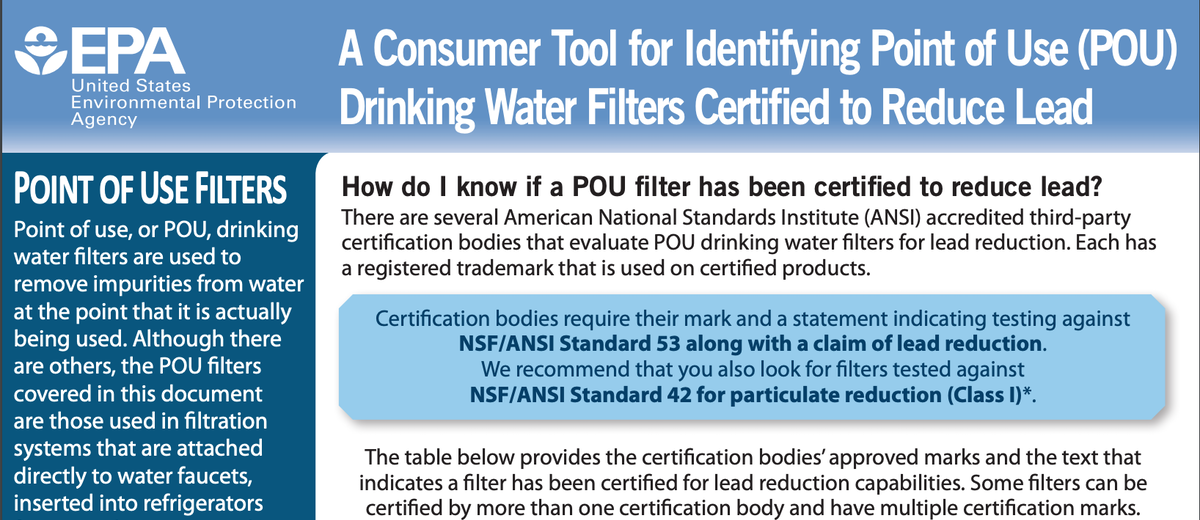 A Consumer Tool for Identifying Filters that reduce lead.